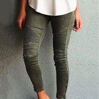 kot sıska femme toptan satış-Avrupa Amerika Moto Biker Jeans Kadınlar Pamuk Yıkanmış Vintage Pileli Kalem Pantolon Femme Fermuar Yüksek Esneklik Sıska Pantolon S18101601