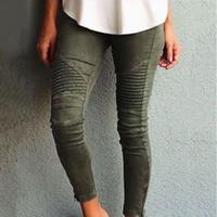 jeans skinny femme al por mayor-Europa América Moto Biker Jeans Mujeres Algodón Lavado Vintage Plisado Lápiz Pantalones Femme Cremallera Alta Elasticidad Flaco Pantalones S18101601