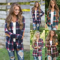 Wholesale long slimming blouses - Grid Plaid Long Sleeve Cardigan Top Cover Up Blouse Loose Slim open stitch Cardigan t shirt women Maternity Tops