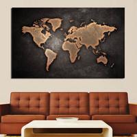 ingrosso mappe di pitture a olio-Home Decor Nero Mappa del mondo Pittura a olio Immagini a parete per soggiorno Dipinti su tela senza cornice