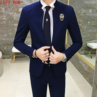 Wholesale blue hong kong - 2PCS Set Slim Fit Men Costume Wedding Party Chinese wind Spring Fitted Sets of Hong Kong Wind Japanese Original Casual Suit