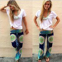 пляжные брюки оптовых-Новый синий дамы женская мода цветочный принт гарем брюки женщины пляжная одежда свободные эластичный пояс брюки повседневная пляж брюки