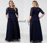 bescheidene linie kleider mutter großhandel-Marineblau Leona Spitze A-Linie Plus Size Mutter der Braut Bräutigam Kleider mit Ärmeln Modest benutzerdefinierte machen Frauen Anlass formale Prom Kleider