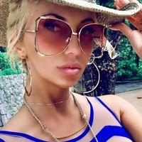 ingrosso decorazioni rosa perle-Occhiali da sole moda occhiali da sole moda decorazione perline Mezza montatura da donna Moda oversize occhiali da sole da donna trasparenti tonalità rosa
