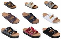 zapatos del color neutral al por mayor-2018 Venta caliente Arizona verano Mujeres y hombres sandalias planas Zapatillas de corcho zapatos casuales unisex imprimir colores mezclados tamaño 35-46