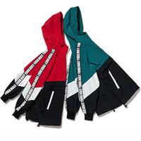 Wholesale couples tracksuits resale online - Jackets Men Patchwork Color Hooded Pullover Jacket Zipper Tracksuit Fashion Coats Hip Hop Male Streetwear Autumn Couple