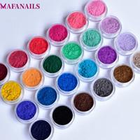 kadife sanat toptan satış-24 Renkler Kadife Akın Toz Akrilik İpuçları Glitter Çivi Dip Pudra 3D Nail Art Süslemeleri Noel Dekor Için 24 Kutuları / Lot