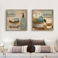 photos salle de bains achat en gros de-2 pièce toile doux Impressionnisme art vie simple art Rétro Salle de bains décor wall picture home moderne toile huile Prints