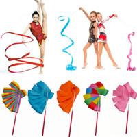 cintas de gimnasia al por mayor-4M Gymnasics Dance Ribbon Gym Rhythmic Art Gimnasia Ballet Streamer Twirling Rod Cintas