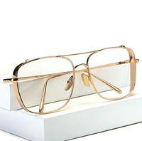 monturas de gafas femeninas al por mayor-Tres colores de Moda de Oro Marco de Metal Lentes Para Mujeres Mujer Gafas Vintage Lente Transparente Marcos Ópticos lLJJE12