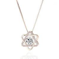 kolye için swarovski kristal kolye toptan satış-S925 Gümüş Avusturyalı Kristal Elmas Yıldız Kolye Bildirimi Kolye Moda Sınıf Kadınlar Kızlar Lady Swarovski Elements Takı