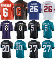 Wholesale new 27 - 2018 New Jerseys 26 Saquon Barkley 6 Baker Mayfield 5 Blake Bortles 20 Jalen Ramsey 27 Leonard Fournette 8 Lamar Jackson Stitched