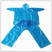 Wholesale cap times - Hot Sale Travel Rain Coat Blue Split Type Disposable Raincoats PE One-Time Poncho Disposable Rainwear 2.2 Silk Caps CCA9792 100pcs
