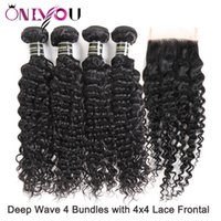 Wholesale malaysian deep curl hair weave for sale - New Arrival Malaysian Virgin Remy Hair Weave Deep Curly Bundles with Closure Malaysian Deep Wave Silk Base Closure Curl Hair Extensions