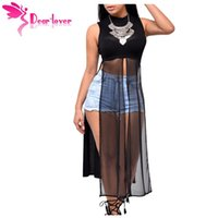 Wholesale Dear Party - Dear Lover Stylish Woman Vest Party Mesh Patchwork Sleeveless High Side Split Club Top 2017 Summer Long Tanks Camisole LC25857
