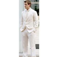 esmoquin de lino de los hombres al por mayor-Modern Men Blazer 2 Piezas (Jacket + Pants + Tie) Causal Latest Coat Pant Designs Hombres Traje Ivory Linen Summer Stylish Tuxedo 005