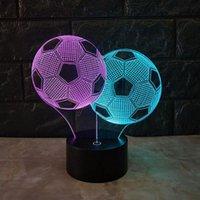 luzes de noite de futebol crianças venda por atacado-Futebol 3d visual night light 7 cor de toque de carregamento led usb estéreo crianças lâmpada novo estilo de desenvolvimento 3d luz