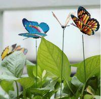 estacas de patio al por mayor-15 Unids / lote Artificial Mariposa Jardín Decoraciones Simulación Mariposa Estacas Jardín Patio Decoración de Césped Fake Butterefly Color Al Azar