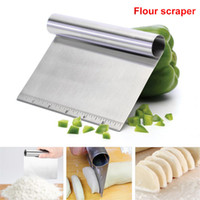 Wholesale flour cutter for sale - Group buy Stainless Steel Pizza Cutter Smoother Edge Cake Scraper With Scale Pizza Cutter Flour Slicer Pastry Icecream Spatulas Cake Tool