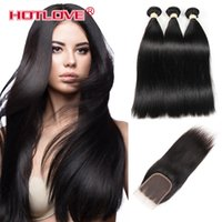 Wholesale three bundles - Hotlove Hair Peruvian Straight Human Hair Bundles With Lace Closure Middle Free  Three Part Natural Black 3 Bundles Hair & Closure Hot Sale