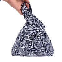 Wholesale small handmade bags for sale - Group buy Grid Wave Flower Handmade Square Bag Mobile Phone Key Small Bag Japanese Style Wind Simple Knot Wrist