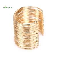 handgemachte indische armbänder groihandel-Ägyptische Gold-farbe hip hop moderne natürliche Punk Armbänder Frauen Geburtstagsgeschenk Wrist Wrap Armreifen Schmuck Handgemachte Indische Zeichnung