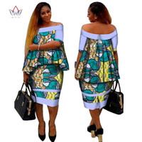 Wholesale Pink Corn - African Dashiki Print Women Clothing Two Pieces Tops and Body Corn Dress New Design 2017 Fashion Plus Size BintaRealWax WY2400