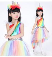 ingrosso abito unico della principessa della ragazza-Costumi per bambini Costume unico arcobaleno per unicorno per ragazze di Unique Great For Halloween e Everyday Dress-Up Princess