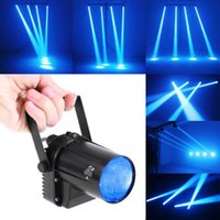 ingrosso lampada spinning-Mini 3W Blue LED Stage Light Proiettore Lampada Disco Dance Party Club KTV DJ Bar Spin Laser Stage Effetto di illuminazione Spotlight Pinspot
