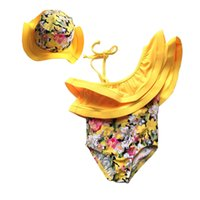 Wholesale swimming tankini - Summer Kids Girl Swim Suit Newborn Baby Girls Swimwear Hat Floral Swimsuit Tankini Bathing Suit