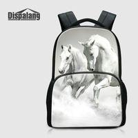 Wholesale Horse School Backpacks - Canvas Men's Laptop Backpack For Traveling Horse Printing School Bags For College Animal Rucksack Women Daily Bagpack Rugtas Large Mochilas