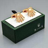 abotoaduras de boxe venda por atacado-Preço de atacado Rol-x fine Men shirt Abotoaduras com caixa de marca de jóias de Cobre Abotoaduras para o Presente de Natal