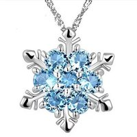 Wholesale frozen jewelry online - Fashion woman Jewelry Blue Crystal Snowflake Frozen Flower s925 Silver Necklace Pendants With Chain necklace
