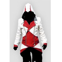 Wholesale Connor Kenway Costume - Assassins Creed 3 III Conner Kenway Hoodie Jacket Aassassins Creed Costume Connor Cosplay Novelty Sweatshirt Hoody Jacket Men