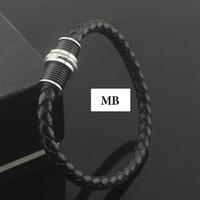 ingrosso bracciali in pelle di fascia alta-Bracciale in acciaio inossidabile MB Il più popolare in Europa è la scelta di braccialetto di fascia alta catena in vera pelle nera