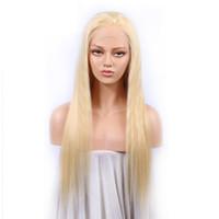 peluca color 613 al por mayor-Pelucas de cabello humano brasileño de encaje lleno rubio Color de cabello humano brasileño 613 # Pelucas delanteras de encaje recto con pelo de bebé