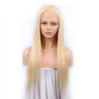 cor da peruca 613 venda por atacado-Perucas completas lisas brasileiras do cabelo humano da cor 613 # perucas completas lisas do cabelo do laço com cabelo do bebê