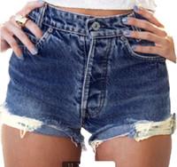 Wholesale hot pants wholesale - NEW Arrivals Fashion Women High Waist Short Jeans Girls Ladies Hole Short Jeans Denim Pants Hot Sales