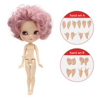 Wholesale nude dolls small - Free shipping Nude ICY DOLL with small breast joint body short pink hair 1 6 30cm curly hair