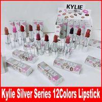 Wholesale Lip Sticks - Kylie holiday collection silver series Lipstick Matte Kylie Lipstick Lip Stick 12 Color Lip Gloss Beautiful Cosmetics