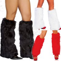 Wholesale lady sexy santa - 3Colors Sexy Faux Fur Leg Warmers Rave Fluffies Lady Boot Cover Santa Christmas Winter Warm Wool Plush Stockings