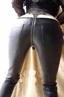 ingrosso gambali in cerniera di cuoio faux-Sexy cerniera con apertura sul cavallo pantaloni a matita Faux Leather Leggings donna a vita bassa matita gotica pantaloni caldi Capris Club Dance wear 83