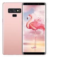 inç android gps cep telefonu toptan satış-ERQIYU Goophone note9 Not 9 akıllı telefonlar 6.4 inç Android 7.0 çift sim gösterilen 128G ROM 4G LTE cep telefonları