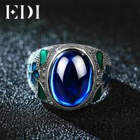 indian cloisonne venda por atacado-EDI Folha 10CT Safira Cloisonne Anel Indiano Do Vintage 925 Sterling Silver Azul Corindo Jóias Para As Mulheres Reais Filigrana EnamelY1882803