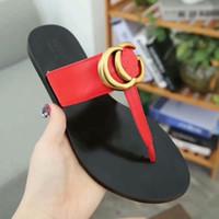 Wholesale sandals for sale - Group buy 2019 Designer men women slippers leather thong sandal golden Leather thong sandal slippers Flat Black white leather black with box