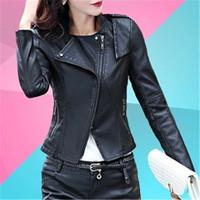 Wholesale Leather Jacket Ladies - Wholesale- 2017 Autumn Fashion New Street Women's Short Washed PU Leather Jacket Zipper Bright Colors New Ladies Basic Jackets Good Quality