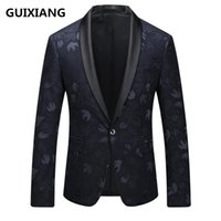 Wholesale Embroidered Wedding Jackets - GUIXIANG 2017 British style blazer men's business casual suits men embroidered coat jacket blazers suits wedding dress sizeM-5XL