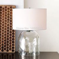 Wholesale Glass Table Vase - D 35cm x H 54cm Glass Vase Modern Table Lamp Light Bedroom Round Fabric Shade Reading Desk Lighting