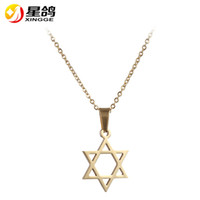 pingente de estrela judaica venda por atacado-Punk Silver / de ouro Cor Estrela de David Pingente Israel Cadeia Mulheres Colar de aço inoxidável Judaica Jewish Homens Jóias