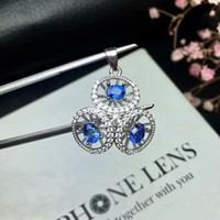 blue jewelery Canada - Lovely geometry umbrella natural blue sapphire Pendant natural gemstone pendant necklace S925 silver women party gift jewelery